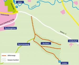 """Das Abfuhrgebiet für Baumschnitt im Mössinger Gewann """"Auchtert"""""""