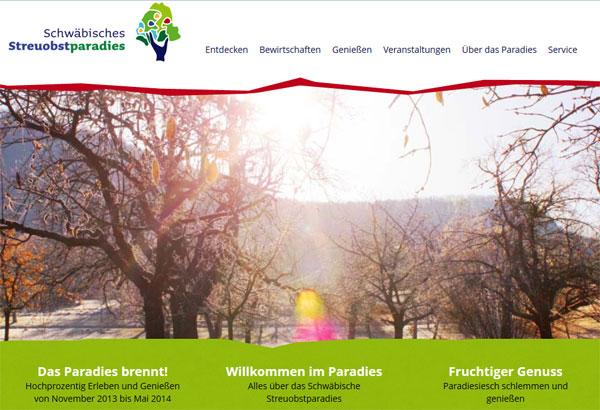 Website des Schwäbischen Streuobstparadieses