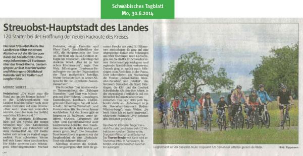 Schwäbisches Tagblatt vom 30.6.2014: Streuobsttour