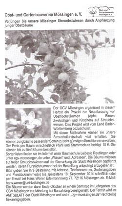Der Aufruf im Amtsblatt am 31.8.