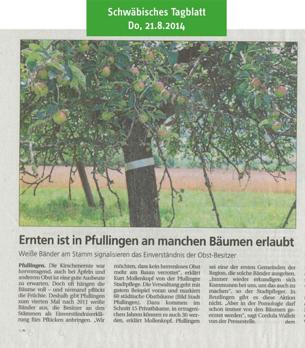 Schwäbisches Tagblatt, 21.8.2014