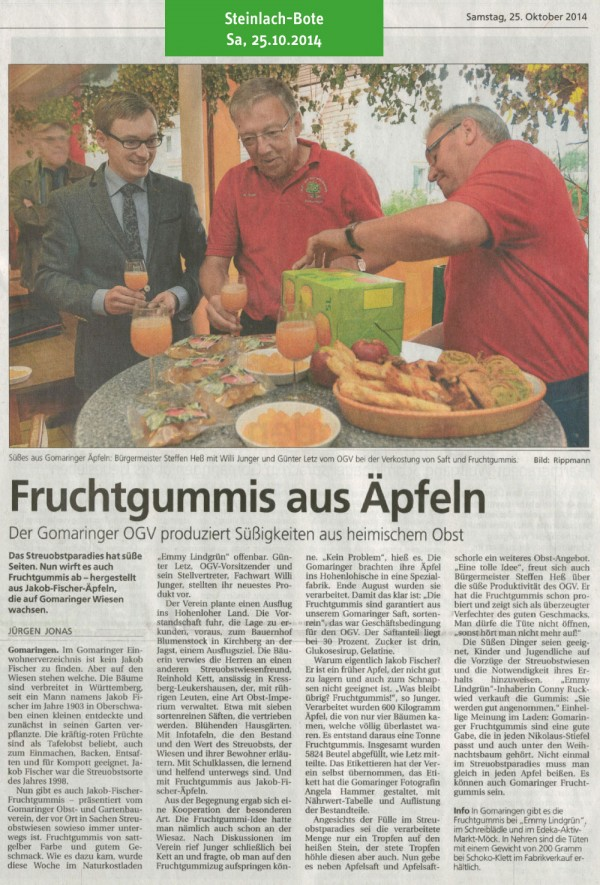 Steinlach-Bote vom 25.10.2014: Fruchtgummis aus Äpfeln