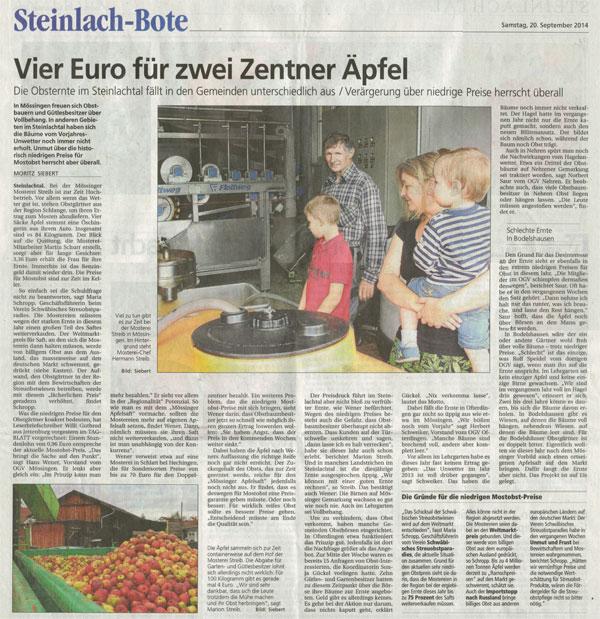 Steinlach-Bote vom 20.9.2014: Vier Euro für zwei Zentner Äpfel