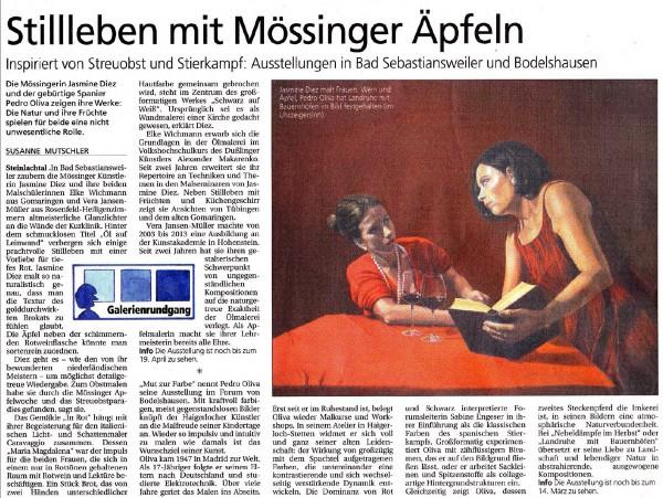 Schwäbisches Tagblatt im Februar 2015: Stillleben mit Mössinger Äpfeln