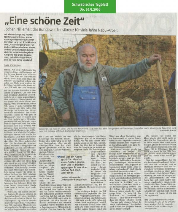 Bericht im Schwäbischen Tagblatt am 19.5.2016