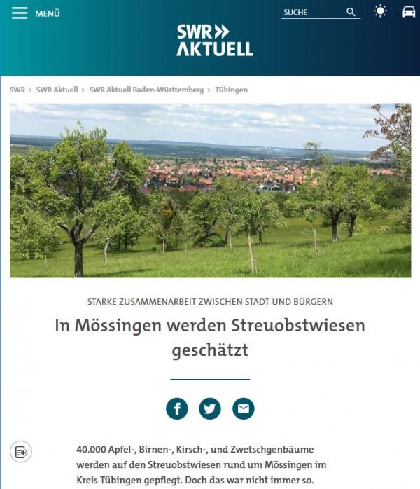 Heute im Radio und auf der SWR-Website: Netzwerk Streuobst und Mössingen