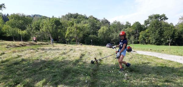 Jugend trainiert für den Mössinger Mähmarathon: Mit dem Freischneider zum nächsten Einsatzort.