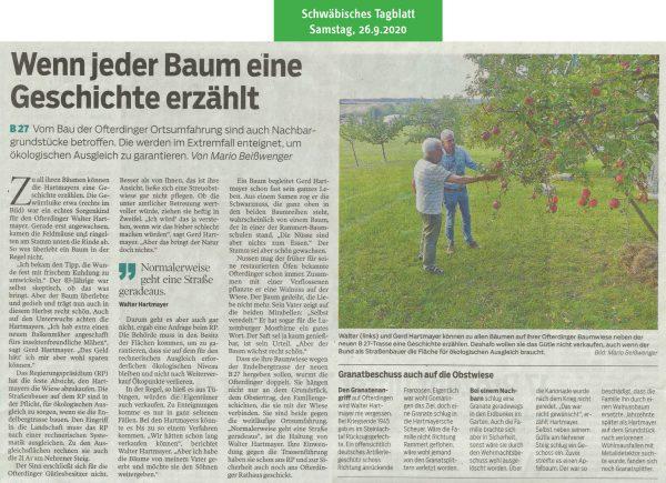 Schwäbisches Tagblatt vom 26.9.2020