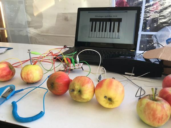 Das Apfelklavier der Jugendpflege Mössingen: Jedes Äpfelchen ein Tönchen.