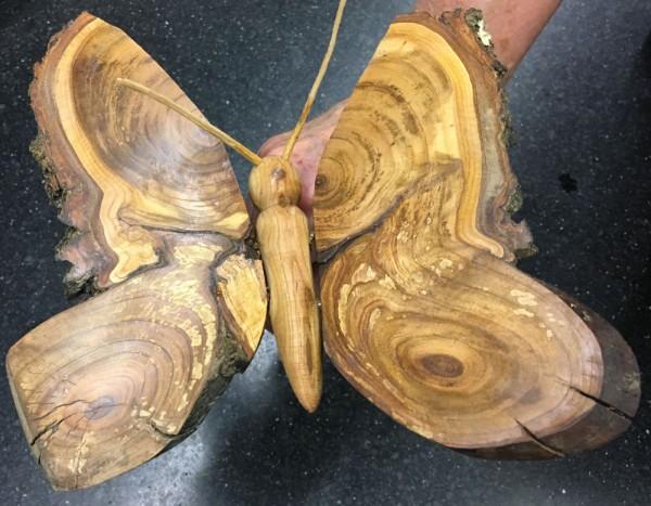 Schmetterling aus Streuobstholz. Wo sonst gibt es solche Maserungen?