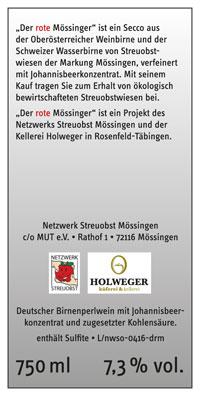 Der rote Mössinger - Etikett hinten