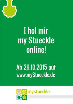 Werbeflyer für die Internetplattform myStueckle.de
