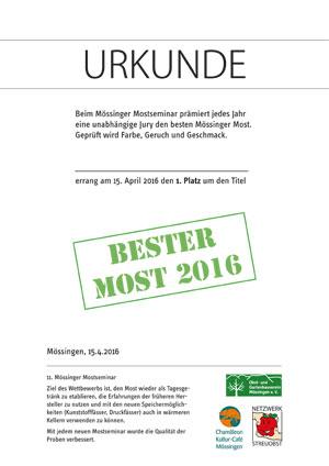 Mostseminar-Urkunde 2016
